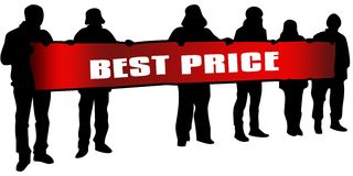 BEST PRICE on red banner held by people silhouettes at rally. Illustration Royalty Free Stock Photo