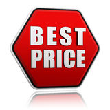 Best price in red hexagon banner Stock Photography