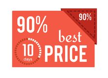 90 Best Price Red Label on Vector Illustration. 90 best price red label with text and headline on it and image of small coundown at left bottom corner on vector Royalty Free Stock Photo