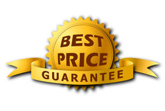 Best Price's label in gold color with shadow Royalty Free Stock Photography