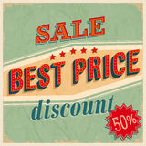 Best price sale. Vintage Card - Best price sale Stock Image