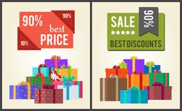 90 Best Price Sale Discounts Labels with Stickers. 90 best price sale discounts square labels with stickers vector promo posters with heaps of present gift boxes Stock Photos