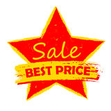 Best price sale in star, yellow and red drawn label Royalty Free Stock Photo