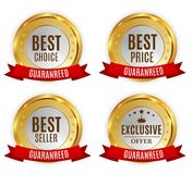 Best Price, Seller, Choice and Exclusive offer Golden Shiny Label with Red Ribbon Sign Collection Set. Vector Stock Image