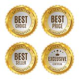 Best Price, Seller, Choice and Exclusive offer Golden Shiny Label Sign Collection Set. Vector Illustration Stock Photo