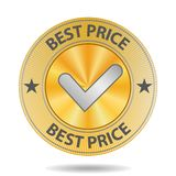Best Price Sign. Best Price golden sign with silver mark Stock Photography