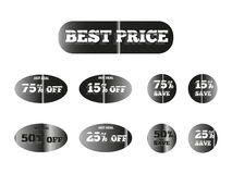Best price silver glow. Holographic stickers with the inscription best price silver glow Royalty Free Stock Photography