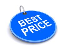Best price tag. Illustration of blue best price tag isolated on white background Royalty Free Stock Images