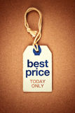 Best Price Today Only Vintage Tag Label. On Brown Grunge Textured Background, Top View Stock Photography