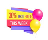 30 Best Price This Week Sale Promo Label Balloons. 30 best price this week sale promo label with glossy balloons vector illustration sale coupon with helium Stock Images