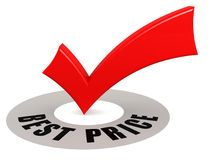 Best Price word and red check mark Royalty Free Stock Photo