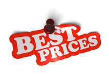 Best prices. Sticker over a white background with a  pushpin Stock Photo