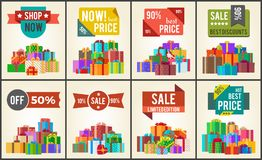 Best Prices Set of Promo Posters Advert Stickers Royalty Free Stock Images