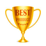 Best Product Award. Golden trophy cup with Best Product message and five stars Stock Images