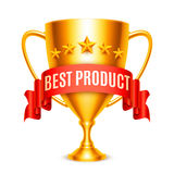 Best Product Award. Golden trophy cup with Best Product message and five stars Royalty Free Stock Photography