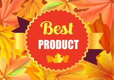 Best Product Award Stamp Design with Maple Leaves. Isolated on background with autumn foliage vector illustration of reward certificate Stock Photos
