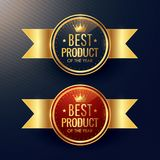 Best product golden label and badge set with crown symbol. Vector Stock Images