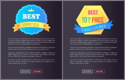 Best Product Hot Exclusive Price Web Poster Vector. Best product hot exclusive price web poster with push buttons read more and buy now. Vector illustration Stock Photography