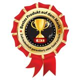 Best product on the market - award ribbon designed for the German retail market. Red and golden award badge with text in German. Text translation: Best product Stock Photos