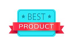 Best Product Promotional Rectangular Logotype. With small stars and red ribbon with sign isolated cartoon flat vector illustration on white background Stock Photos
