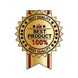 Best Product Quality Sticker Golden Medal With Ribbon Isolated. Vector Illustration Stock Image