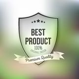 Best product shield isolated on blurred background Royalty Free Stock Photography
