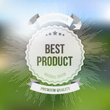 Best product sticker  on blurred Royalty Free Stock Photography
