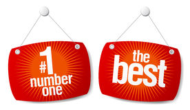 Best products signs set. The leader of sales best products signs set Stock Image