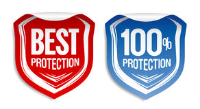 Best protection stickers. Best protection color stickers set Royalty Free Stock Photo