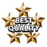 Best quality. Illustration of best quality text with 5 golden stars isolated over white background Royalty Free Stock Image