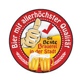 Best quality Beer.The best Brewery in the city - German language Stock Images