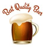 Best Quality Beer. Poster illustration with a glass tankard of dark beer or lager with a wonderful frothy head overflowing the glass and arched text above Stock Photography