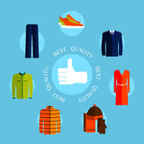 Best quality clothes. Flat style design quality Stock Image