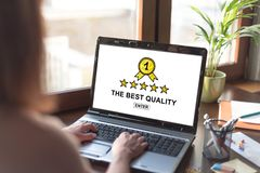 Free Best Quality Concept On A Laptop Screen Royalty Free Stock Photos - 117294458