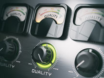 Best quality concept. Quality control switch knob on maximum pos Royalty Free Stock Photos