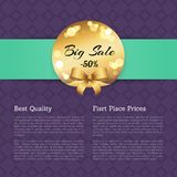 Best Quality First Place Prices Sale Golden Label. Best quality first place prices sale -50 off golden label with round blurred elements vector  on poster on Stock Image