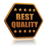 Best quality five star hexagon button. Best quality - 3d black golden hexagon button with text and five stars Royalty Free Stock Photo