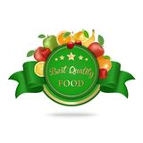Best quality food label, badge  with fruits. Stock Photo