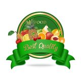 Best quality, fresh organic food label, badge or seal. Stock Image