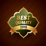 Best quality of 2015 golden label badge design symbol. Vector illustration Stock Photography