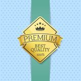 Best Quality 100 Golden Label Premium Choice. Emblem crowned by stars and crown, guarantee certificate of best product isolated on dotted background royalty free illustration