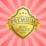 100 Best Quality Golden Label Topped by Star Gold. 100 best quality golden label topped by star, gold emblem guarantee certificate, realistic seal vector Stock Illustration