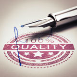 Best Quality Guarantee. 100 percent quality guarantee rubber stamp mark imprinted on a paper texture with signature and fountain pen. Concept image for Royalty Free Stock Photography