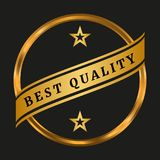 Best quality label. On black background. Vector illustration Stock Photography