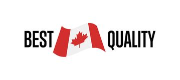 Best quality label for canada products. Illustration isolated on white background. Exporting sticker with canadian flag, certificate element Royalty Free Stock Photography