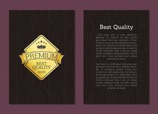 Best Quality Premium Award Golden Label Guarantee. Best quality premium award golden label 100 guarantee isolated on wooden background vector poster design Stock Photos