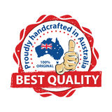 Best Quality. Proudly handcrafted in Australia. 100% original - thumbs up printable stamp / label. CMYK colors Royalty Free Stock Photography