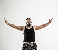 Best rapper dancing break dance .photo on a white background. Stock Photography