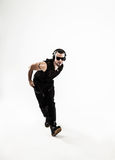 Best rapper dancing break dance .photo on a white background. Stock Images