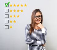 The best rating, evaluation. Business confident happy hispanic w stock photography